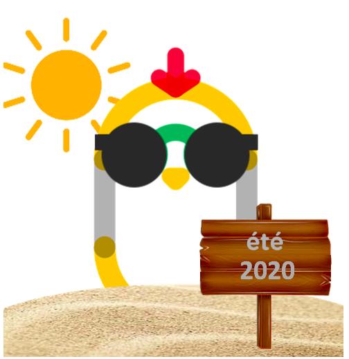 dessin de poussin à la plage avec lunettes de soleil.