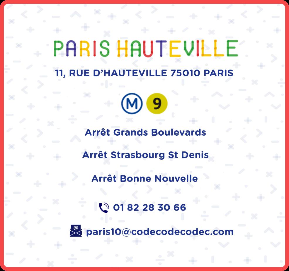 CodecodeCodec stage scratch python arduino Paris 10 Paris Hauteville Informations