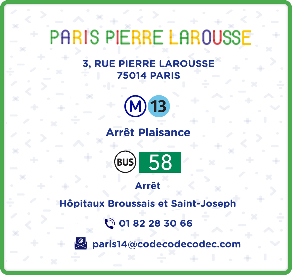 Codecodecodec stage scratch python arduino Paris 14 Paris Pierre Larousse Informations